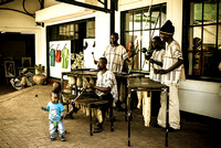 Happy percussionists in Vic Falls Town
