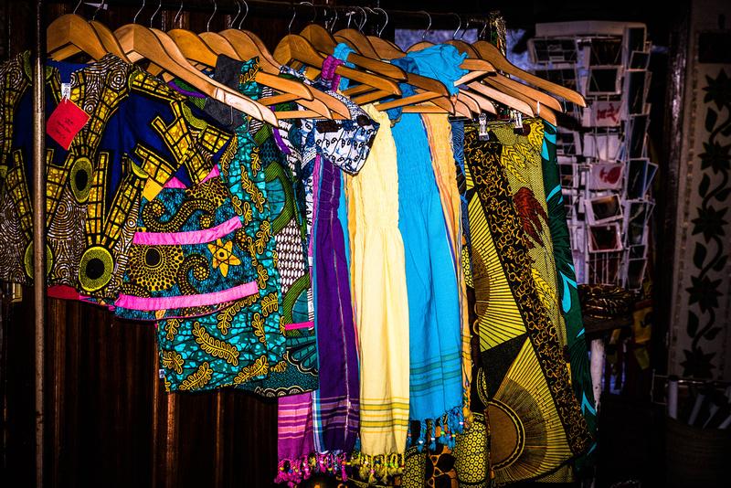Colourful curio shop at the Victoria Falls.